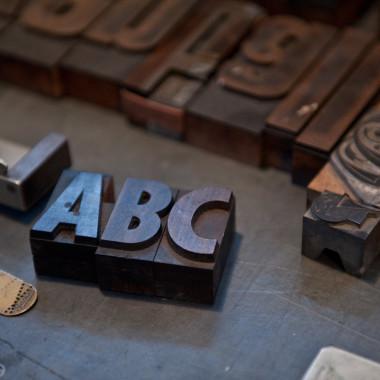 Buchstaben in der Druckerei