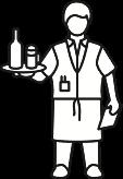 Zeichenfigur mit Tablett und Block in der Hand.