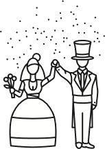 Zeichenfiguren: Braut und Bräutigam