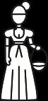 Zeichenfigur: Magd mit einem Korb in der Hand.