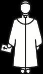 Zeichenfigur Pfarrer mit Bibel in der Hand.