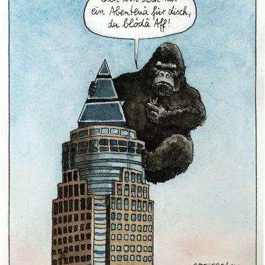 Gorilla auf einem Hochhaus
