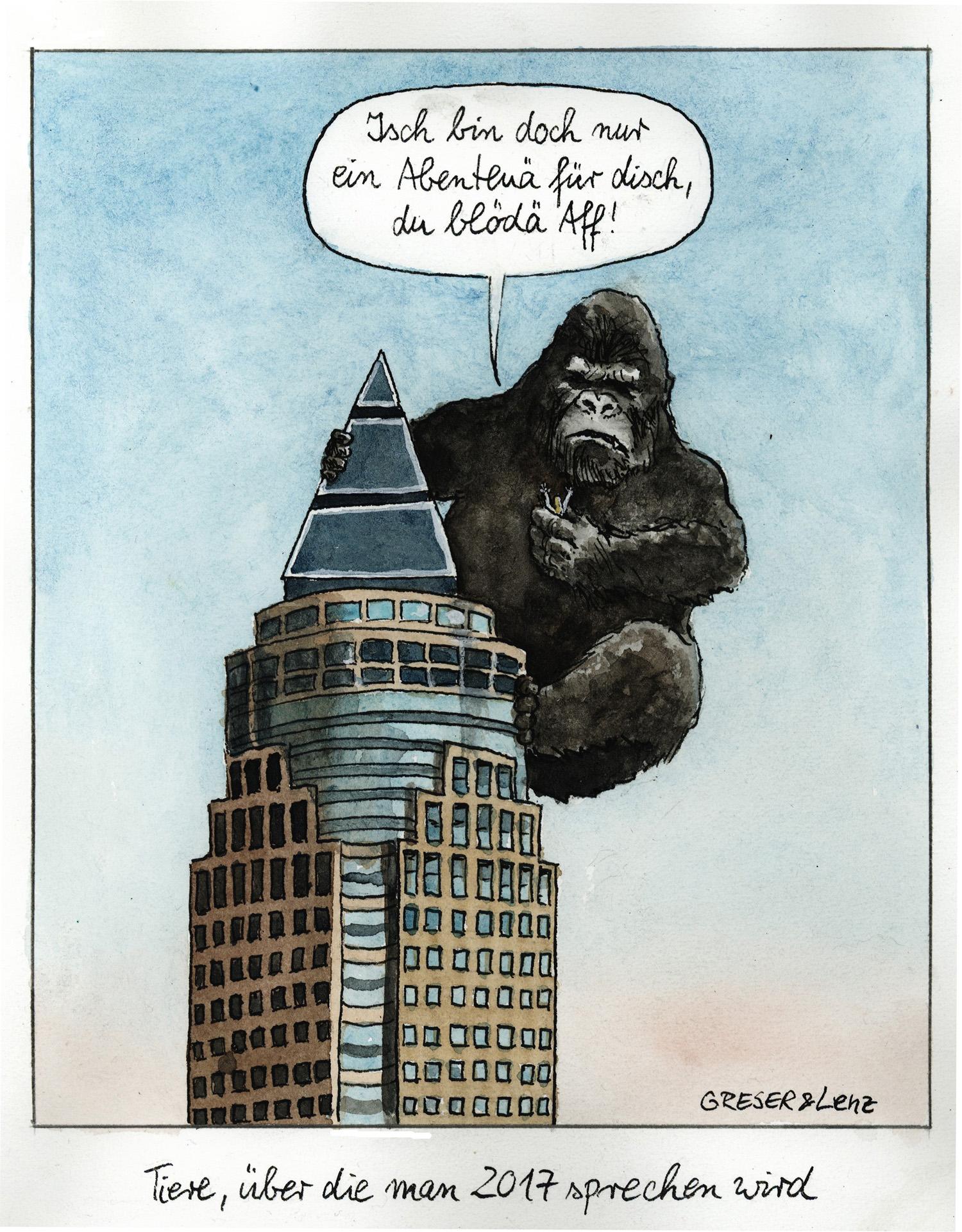 """Gorilla auf dem Messeturm in Frankfurt - Leitmotiv der Sonderausstellung """"Hessen först! Karikaturen von Greser & Lenz"""