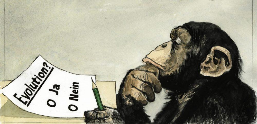 Karikatur mit einem Schimpansen von Greser & Lenz