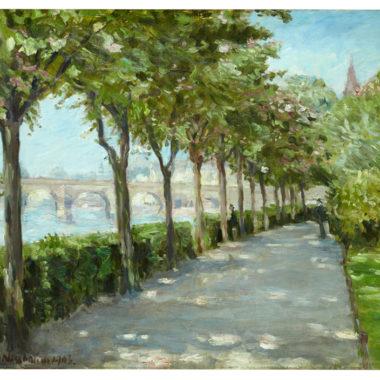 Ölbild von Jakob Nussbaum: Mainufer mit Blick auf Alte Brücke