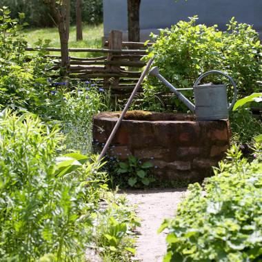 Kräutergarten mit Gießkanne
