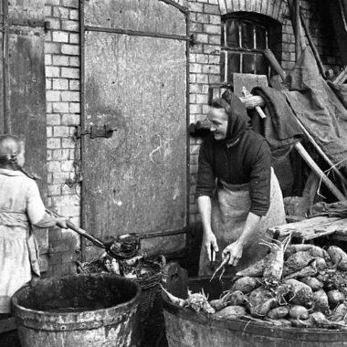 Mädchen hilft alter Frau beim Waschen von Runkelrüben.