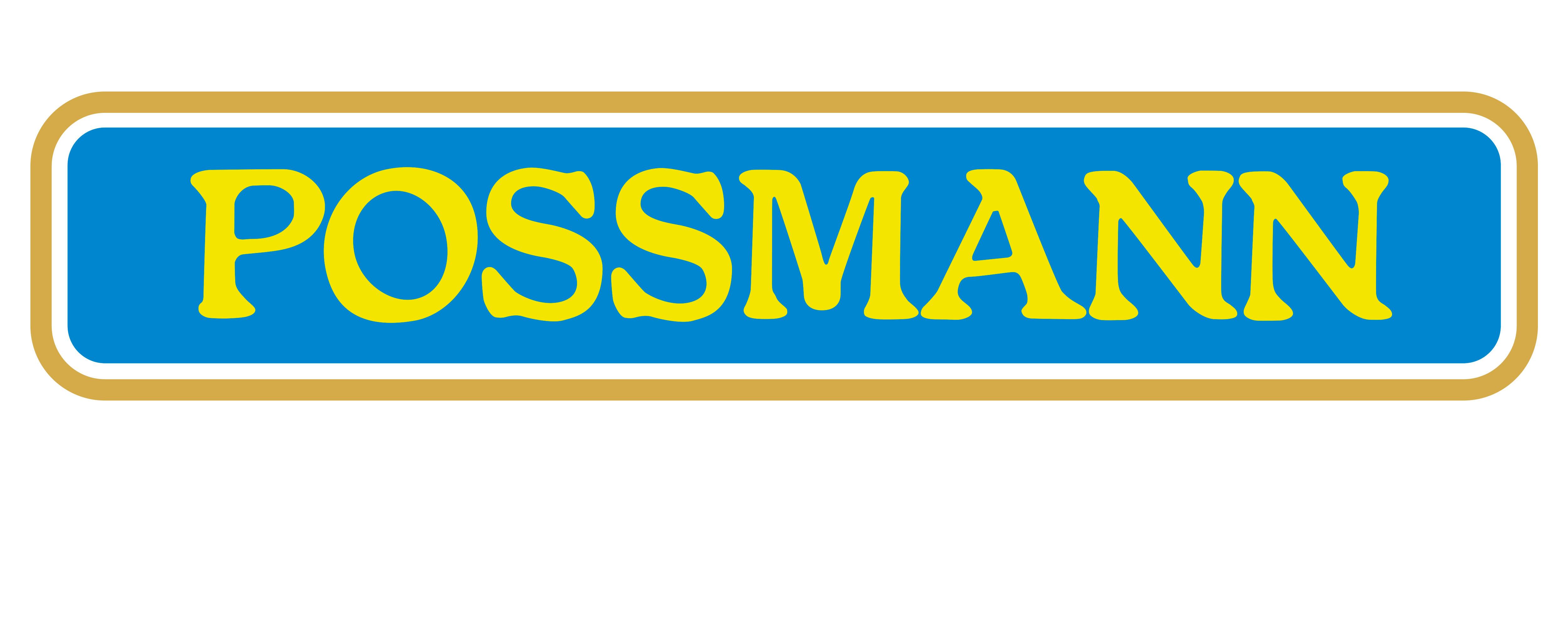 Logo der Kelterei Possmann. Der gelbe Possmann-Schriftzug erscheint auf blauem Grund.