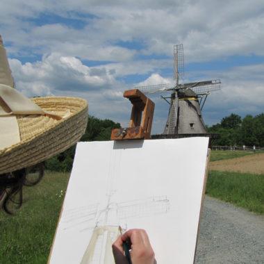 Malerin vor der Kappenwindmühle aus Borsfleth