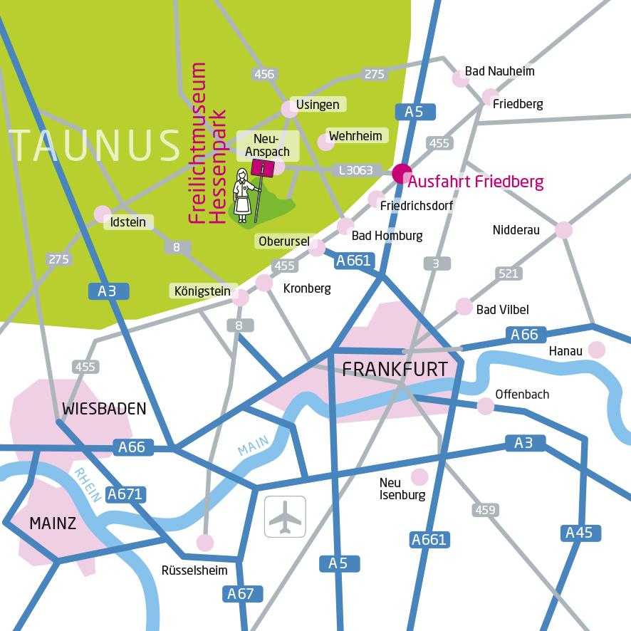 Deutscher Lageplan des Freilichtmuseums Hessenpark