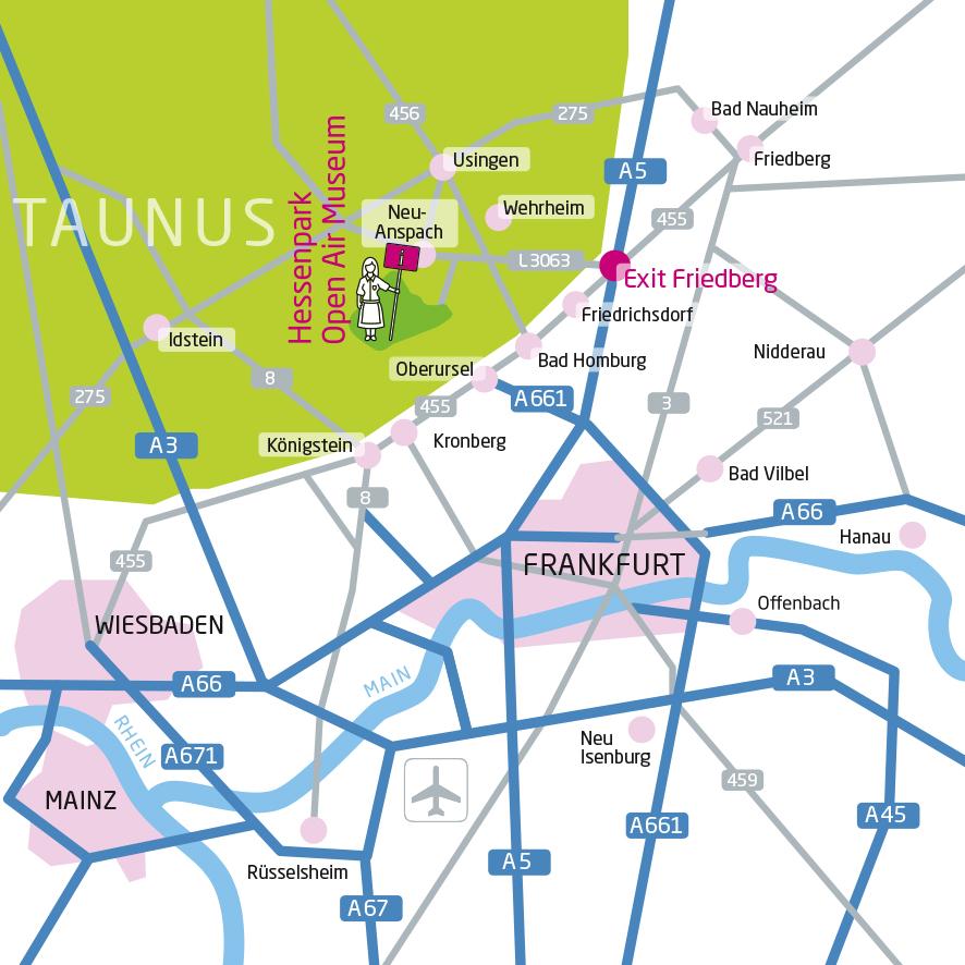 Englischer Lageplan des Freilichtmuseums Hessenpark